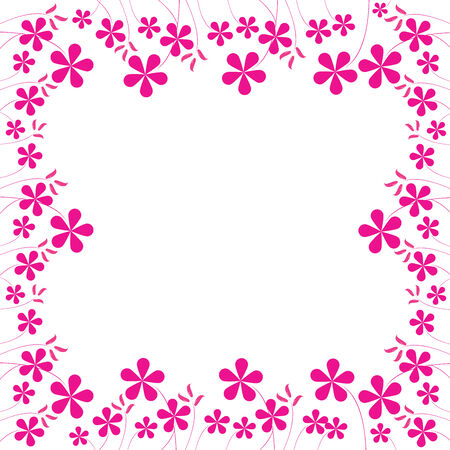 pink flowers foliage with space for your text, vector art illustration; easy to change colors.
