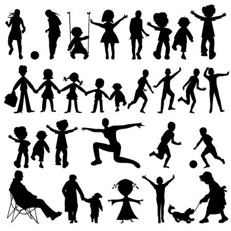 kind silhouet: mensen zwarte silhouetten collectie, vector kunst illustratie