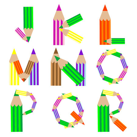 pencils alphabet, vector art illustration; more alphabet letters in my gallery Çizim
