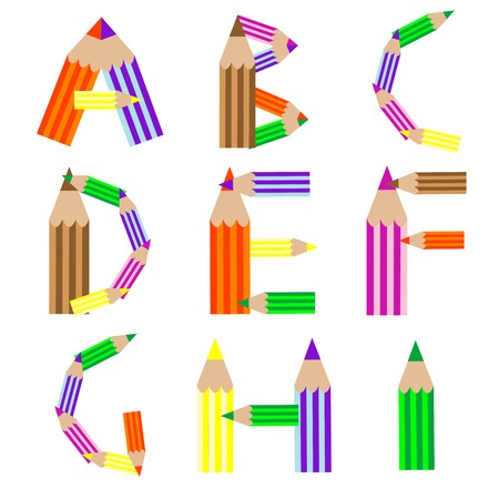 pencils alphabet, vector art illustration; more alphabet letters in my gallery Ilustrace