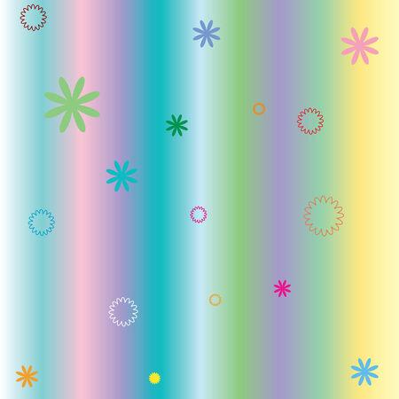 파스텔 줄무늬 및 꽃, 벡터 아트 그림 일러스트