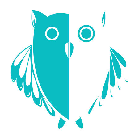 stylized owl (blue), vector art illustration, more drawings in my gallery Vector