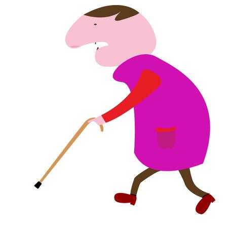 old man, vector art illustration