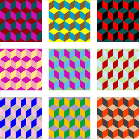 nine different versions of psychedelic patterns, vector art illustration; easy to change colors