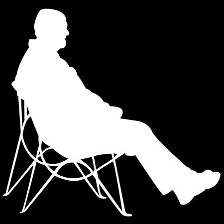 man sitting on black background, vector art illustration