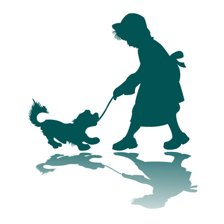 little girl and dog silhouette, vector art illustration; more drawings in my gallery Vector