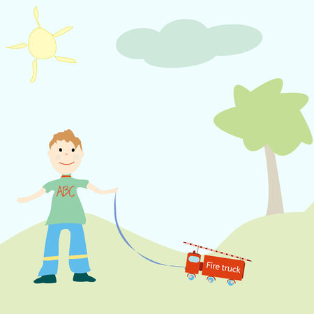 little boy playing with his toy, vector art illustration Vector