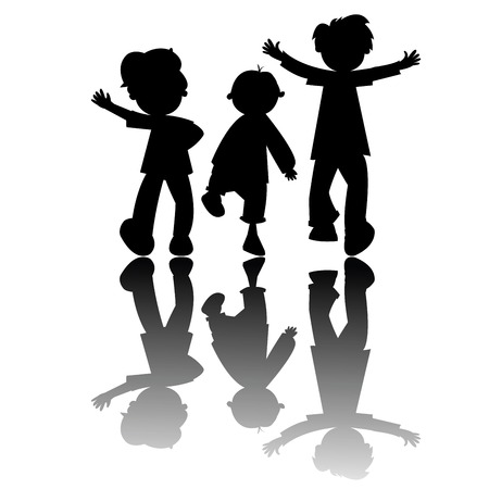 kids silhouettes isolated on white background, vector art illustration; more drawings and silhouettes in my gallery Иллюстрация