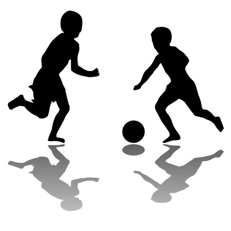 kinderen spelen voet bal (zwart) geïsoleerd op een witte achtergrond, vector kunst illustratie; meer tekeningen en silhouetten in mijn foto galerij