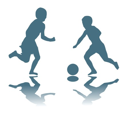 Silhouette illustration with kids playing soccer Vettoriali