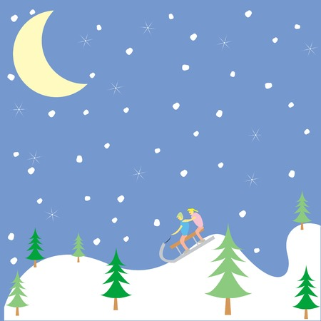 kids playing in the winter, vector art illustration, more drawings in my gallery Vector