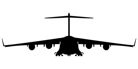 military air plane silhouette, vector art illustration; more silhouettes and drawings in my gallery