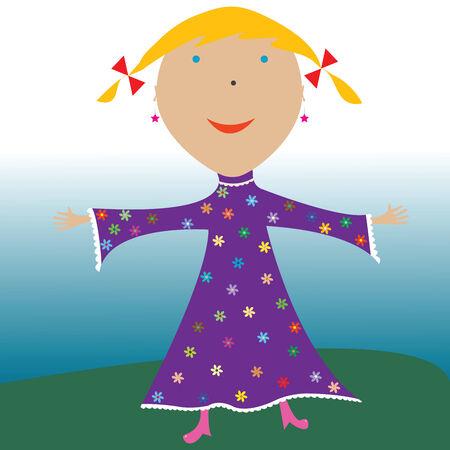 happy little girl, vector art illustration Stock Vector - 6125201