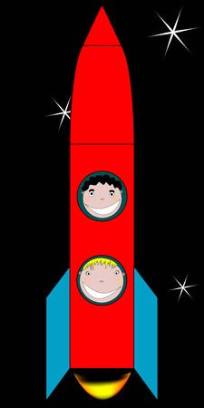 happy kids in space drawing, vector art illustration; more drawings in my gallery