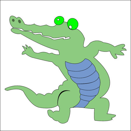 happy green crocodile, vector art illustration; more drawings in my gallery