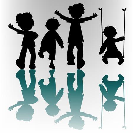 de gelukkige kinderen silhouetten, vector kunst illustratie; meer silhouetten en tekeningen in mijn foto galerij