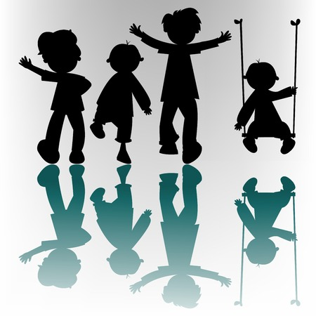 happy children silhouettes, vector art illustration; more silhouettes and drawings in my gallery Illustration