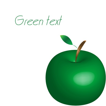 green apple with space for text, vector art illustration; more drawings in my gallery