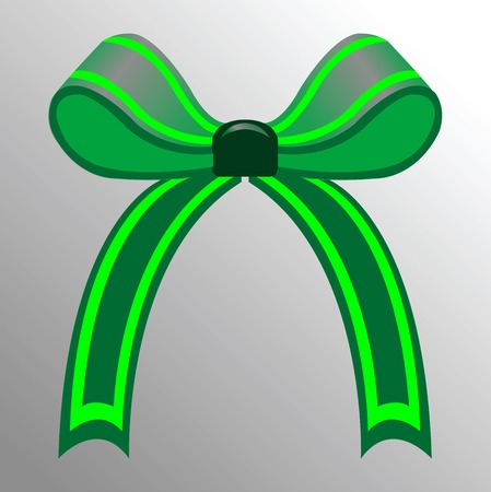 green ribbon, abstract drawing; vector art illustration