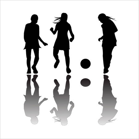 layup: girls playing football, vector art illustration; more drawings in my gallery