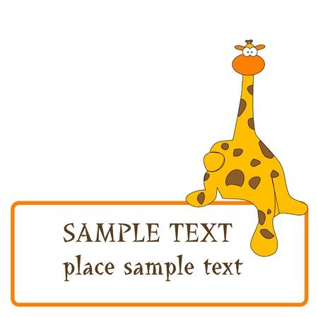 ni�os con l�pices: dise�o de jirafa con espacio para texto, ilustraci�n de arte vectorial Vectores
