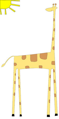 Cartoon of giraffe isolated on white background, vector art illustration See more animal drawings in my gallery