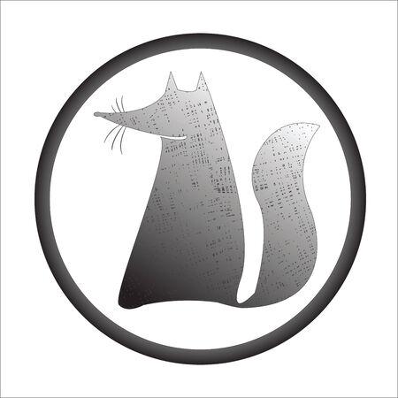 fox stamp, vector art illustration