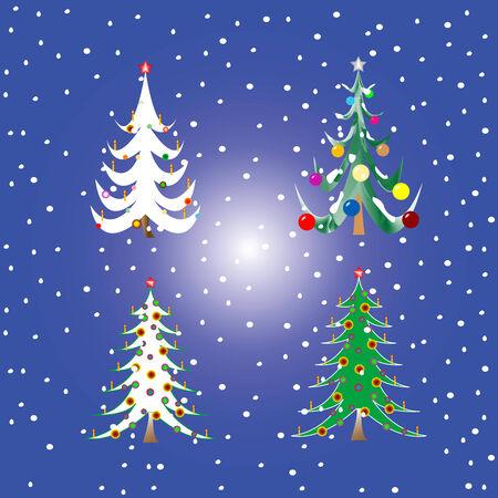 four christmas trees, vector art illustration Vector