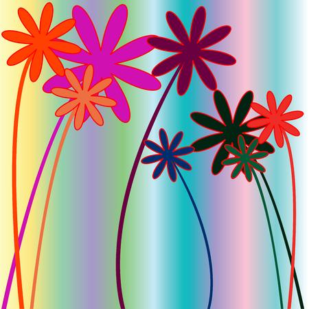 bloemen en strepen, vector illustraties illustratie