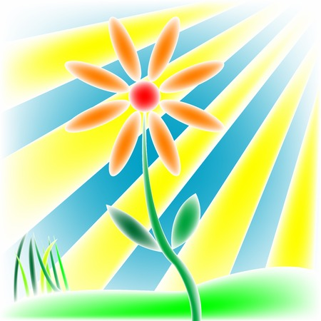 flower, grass and sun, vector art illustration; more drawings in my gallery Ilustrace