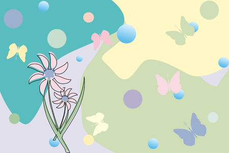 flower and butterflies, vector art illustration Vector