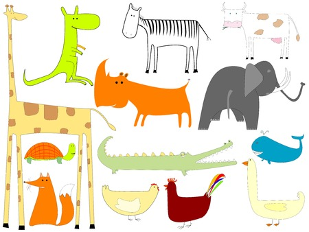 drawing of animals isolated on white background, vector art illustration, more drawings in my gallery Vector