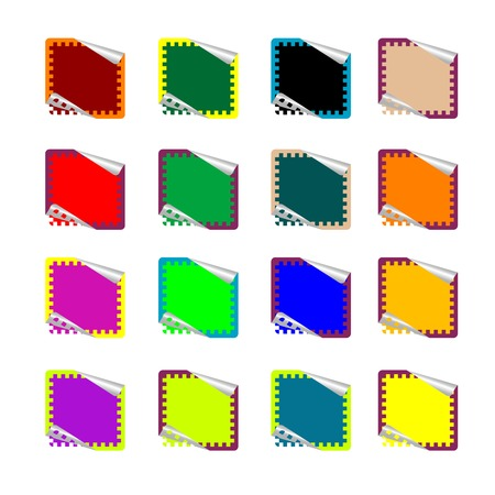 double rounded rectangle colored stickers isolated on white, vector art illustration; more stickers in my gallery Vector