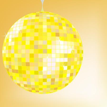 disco ball yellow, vector art illustration; more disco balls in my gallery