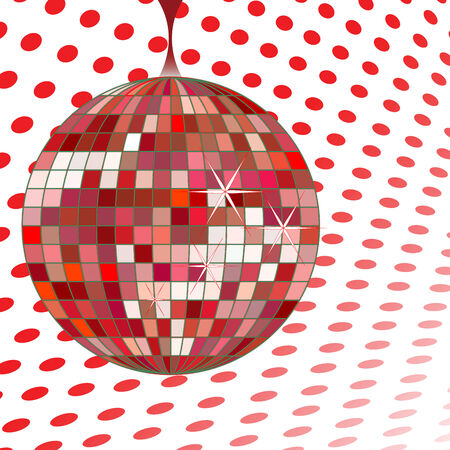 disco ball red, vector art illustration; more disco balls in my gallery