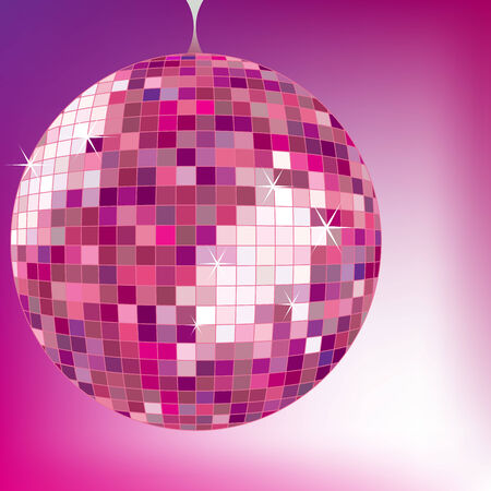 disco ball purple, vector art illustration