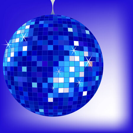 disco ball blue, vector art illustration; more disco balls and drawings in my gallery Ilustrace