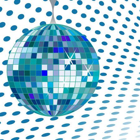 disco ball blue, vector art illustration; more disco balls in my gallery