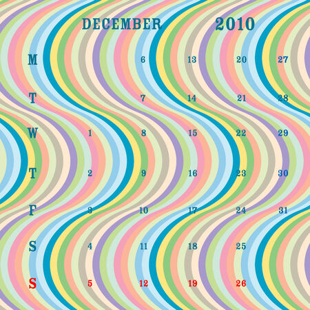 winter time: december 2010 calendar, vector art illustration