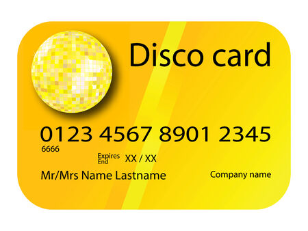 credit card disco yellow, vector art illustration; more credit cards in my gallery 向量圖像