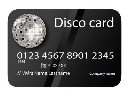 credit card disco black, vector art illustration; more credit cards in my gallery