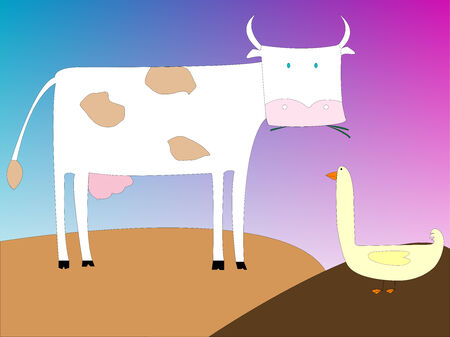 drawing of a cow and goose, vector art illustration; more drawings in my gallery