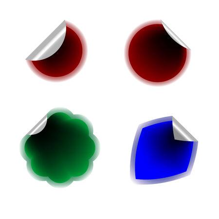 Autocollants colorés isolés sur blanc, illustration de l'art vectoriel, plusieurs autocollants dans ma galerie Banque d'images - 6130575