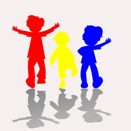 colored kids silhouettes, vector art illustration Vector