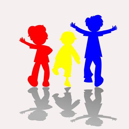 niños jugando caricatura: siluetas de niños felices, ilustración de arte vectorial