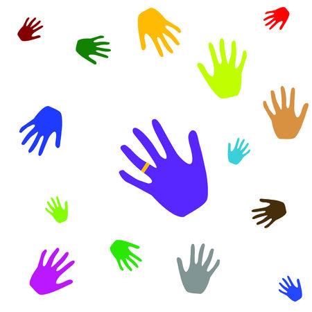 gekleurde handen, vector kunst illustratie Stock Illustratie