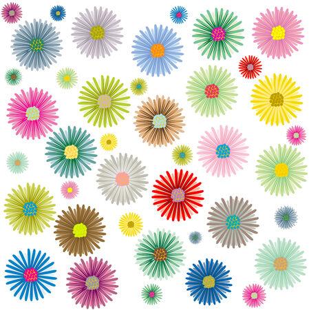 色が白い背景で隔離の花パターン、ベクトル アート イラスト;私のギャラリーでより多くのパターン