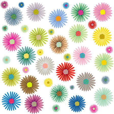 colored flowers pattern isolated on white background, vector art illustration; more patterns in my gallery Ilustração