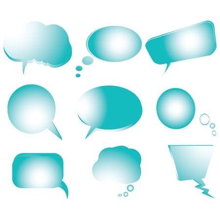 Collection of stylized blue text bubbles, vector isolated objects on white, vector art illustration Иллюстрация