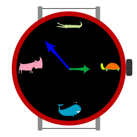 clock with animals, vector art illustration Stock Vector - 6130609